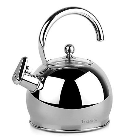 Teabox Camber Stainless Steel Tea Kettle (Large, Glass Lid, Stovetop Tea Kettle,...