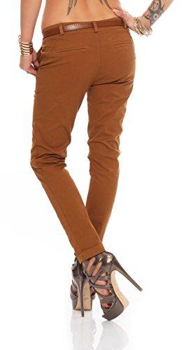 Fashion4Young Damen Skinny Chino Pant Hautenge Treggings Stretch-Stoff Damenhose mit Gürtel Dunkelbraun