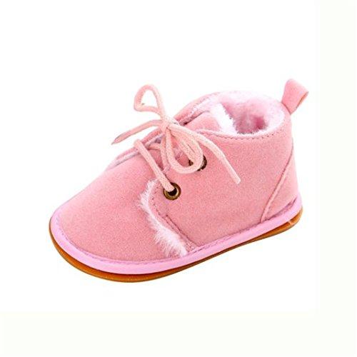kingko® Unisex Neugeborene Winter warm Schnee Stiefel Gummisohle Prewalker Kind-Schuh Rosa