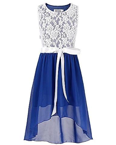 iiniim Girl's Sleeveless Asymmetrical Chiffon Dress Party Graduation Communion Clothes Blue 6 Years