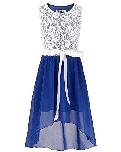 iEFiEL Mädchen Kleid Festlich Tüll Sommer Kleid Blumenmädchen Hochzeit Festzug Bekleidung mit Schleife 116-164 Blau 152