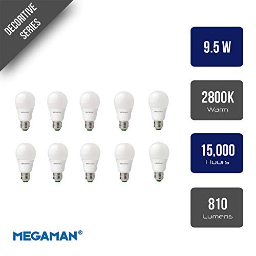 Pack of 10 x Megaman 143316 Opal LED GLS Style Light Bulb E27 ES 2800K Warm White 9.5 W -