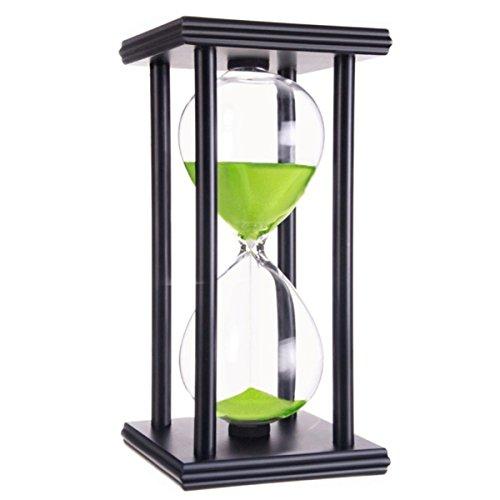 Klassische Sanduhr mit Holzrahmen und grünem Sand, spielerisches Lernen der Zeit, auch toll als Muttertagsgeschenk geeignet 60 Minute Schwarzer Rahmen