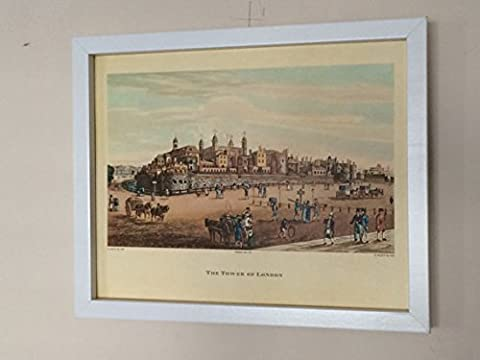 Framed Tower of London Lithograph print 1821 - Robert The Elder Havell