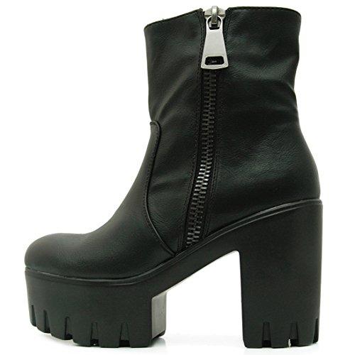 FLY 4 Plateau Stiefelette Boots in Schwarz Matt (37)