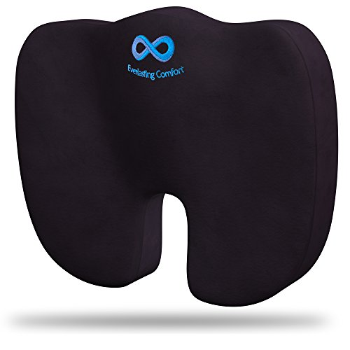 Cuscino di lusso per sedile Everlasting Comfort in puro memory foam 100%, Design ortopedico per alleviare dolori di schiena, sciatica, coccige e osso sacro - Perfetto per la tua sedia da ufficio