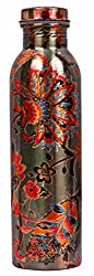 Indian Art Villa Flower Design Pure Copper Outside Printed Lacquer Coated Bottle, Drinkware, 1000 ml