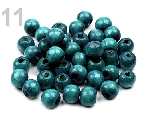 10gramm 11 Türkisblau Holzperlen Lackiert Ø10mm -