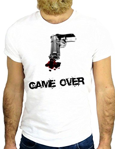 T SHIRT Z0396 GAME OVER COOL NICE GUN VINTAGE FUN GANGSTER MAFIA SCARFACE GGG24 BIANCA - WHITE S