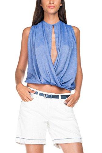 Salsa Top Ouvert au Milieu - Femme Bleu