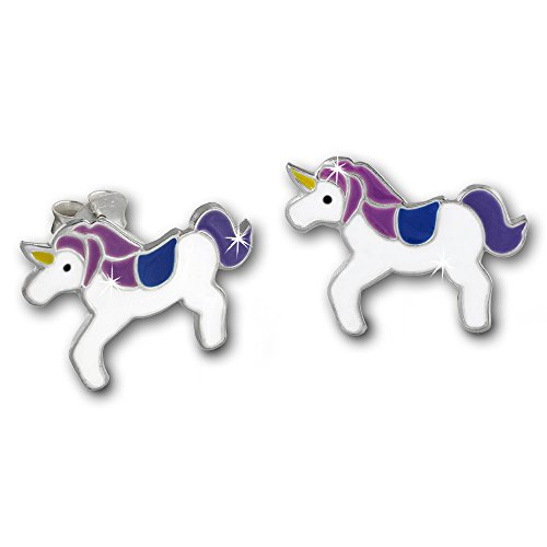 Boucles-doreilles-pour-Enfants-Licorne-blanche-Clous-doreilles-en-Argent-925-Bijoux-pour-enfants-TW-SDO8141W