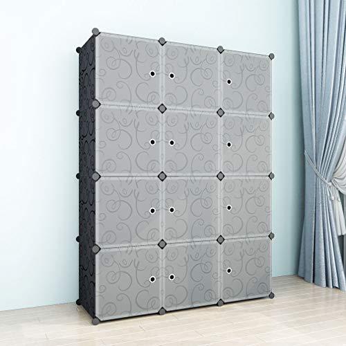 SIMPDIY Platzsparende Multifunktions-robuste Kunststoff-Aufbewahrungsbox für Regale Bookshelf Black (12 Cubes 108x36x144cm / 43x13x57In) - Stahl-falt-regal
