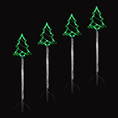 Set Of 4 Linked Crystal Trees Pathway Light Up Outdoors Christmas Decoration New