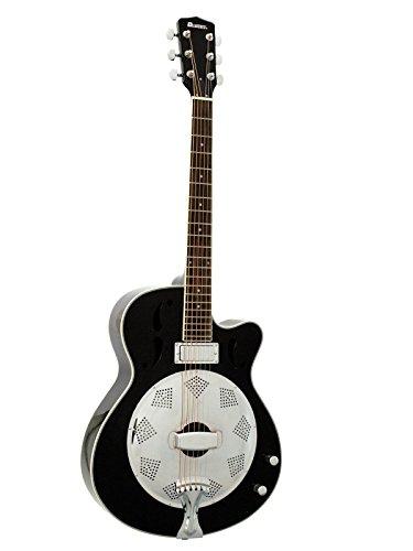 Resonatorgitarre CONE mit Mini-Tonabnehmer, schwarz - E-Resonator Gitarre / verstärkbarer Resonator für Bühne - klangbeisser