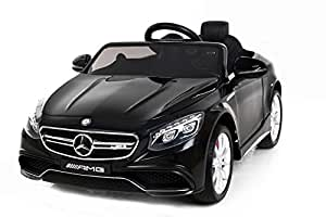 mercedes benz s63 amg elektrisches auto f r kinder 2 motoren schwarz weiche eva r der. Black Bedroom Furniture Sets. Home Design Ideas