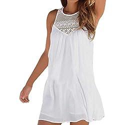 DEELIN Vestido Corto De Playa Sin Mangas De Encaje De Moda Casual De Verano De Las Mujeres Mini Vestido Falso Blanco/Negro (M, Z-Blanco)