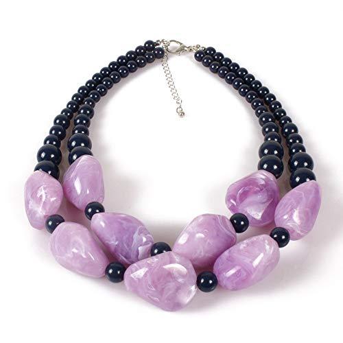 Ofgcfbvxd-Jwn Damen Freundin personalisierte Halskette Schmuck Mädchen Tribal Bubble Harz Stein Partei Aussage Halskette für Frauen für Geburtstags-Jahrestags-Geschenke (Farbe : Lila) (Purple Halskette Bubble)