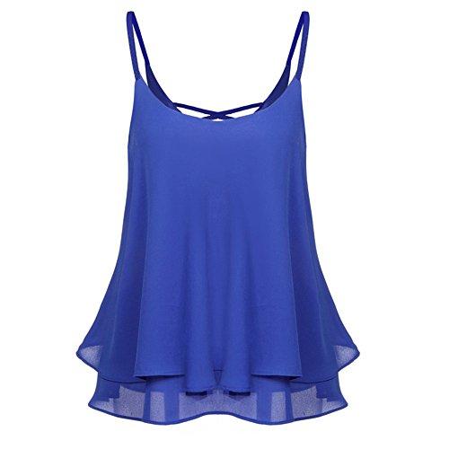 Layered Jersey-t-shirt (Lazzboy Chiffon Cami Tank Damen Frauen Sommer Cool Lässiges ärmelloses Gefaltetes Mehrlagen Blouse Shirts Gefaltete Vordere Chiffon Layered Spaghetti Strap Crop Tops(Blau,XL))