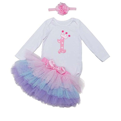 BabyPreg Babys Lange Ärmel 1. Geburtstag-Tutu-Ausstattungs-Kleid-Stirnband (L/9-12 Monate, Rosa Lila)