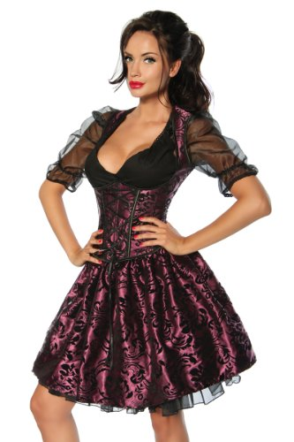 Deluxe Dirndl Oktoberfest Wasen Wiesn Corsagen-Oberteil, Petticoat, Rock, Schürze 6 Modelle Violett/Schwarz