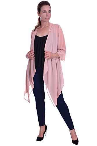 Eleganter Langer Chiffon Cardigan Blazer Jacke Offener Schnitt Wasserfall Blush Pink Blush Pink