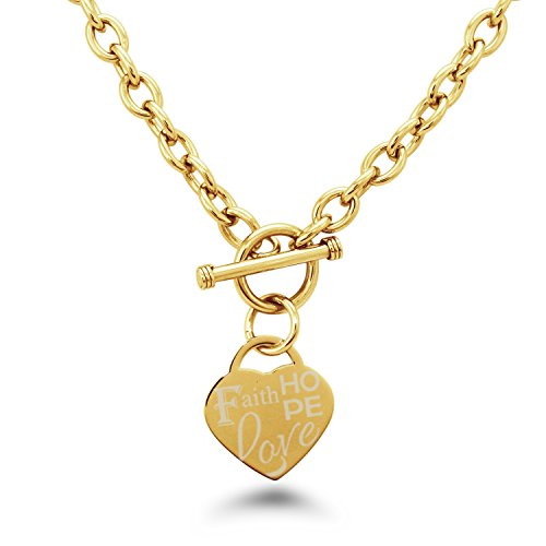 Placcato Oro Acciaio Inossidabile Faith (Fede) Love (Amore) Hope (Speranza) Inciso Modifica del Cuore Toggle, Collana Only