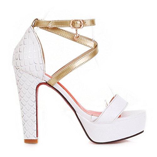 Damen Sandalen High-Heel Stiletto Criss Cross Slingback Schnalle mit Plateau Beige