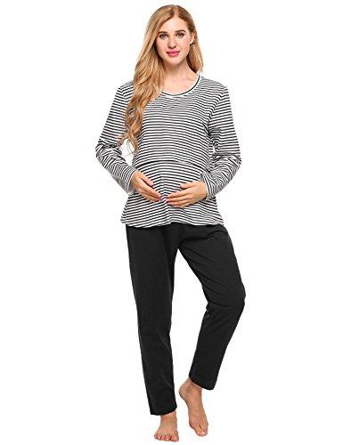 ADOME Damen Umstandspyjama Lang Stillfunktion Stillschlafanzug Stillpyjama Umstandsnachthemd für Schwangere Baumwolle