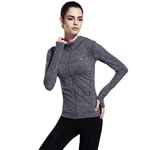 seeu sports jacket damen fitness sweatshirts voll zip atmungsaktiv langarm funktionsshirt lauf. Black Bedroom Furniture Sets. Home Design Ideas