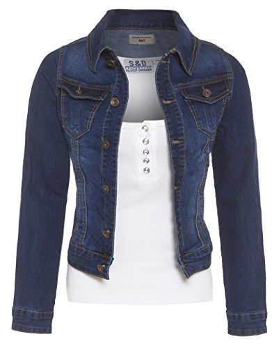 SS7 Damen Jeansjacke, Größen 16 to 24 - Indigo Jeans, 46 (Jean Denim Jacke Distressed)