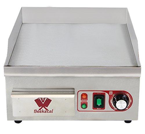 Beeketal \'BHGP-1\' Profi Gastro Gusseisen Grillplatte elektrisch mit 38 x 35 cm Grillfläche (glatt), stufenlos 50-300 °C (2000 Watt), Elektrogrill mit Spritzschutz Aufkantung und Fett Auffangbehälter