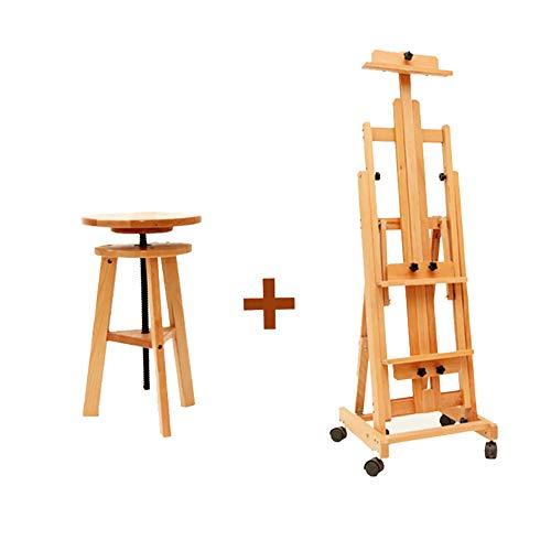 Holz Staffelei große verstellbare Höhe Malerei Stand und Malerei Hocker Staffelei Set Künstler skizzieren Zeichnung Halter (Hocker Zeichnung Verstellbare)