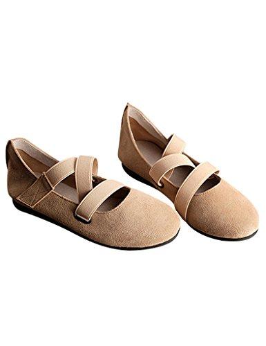 Youlee Femmes Printemps Soft Bottom Chaussons de ballet Jaune