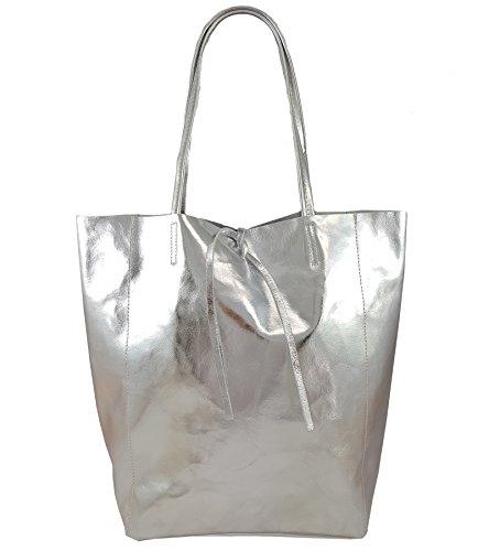 Damen Echtleder Shopper mit Innentasche in vielen Farben Schultertasche Henkeltasche Metallic look Silber Metallic