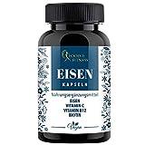 Eisen Kapseln hochdosiert, Vegan + Vitamin C + Vitamin B12 + Biotin, hergestellt in DE, 90 Stück incl. ausführlichem eBook zu Nahrungsergänzungen