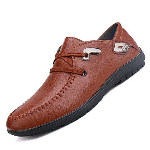 Grrong Mens Sapatos De Couro De Negócios Lazer Moda Marrom Preto Azul Marrom