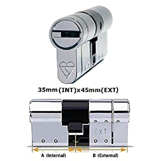 Avocet ABS High Security Euro Cylinder - Anti Snap Lock - Sold Secure Diamond Standard - 3 Star - Chrome 35mm(INT)x45mm(EXT) by Avocet ABS