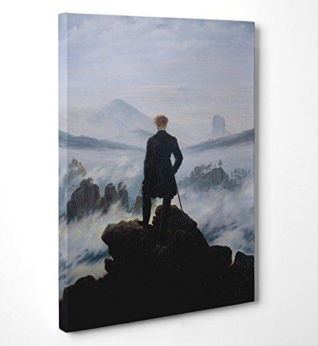 """FINE ART - Friedrich """"Viandante Sul Mare Di Nebbia"""" - Quadro in tela canvas pronto da appendere - Spessore telaio 2cm, 70cmx100cm"""