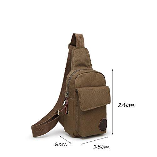 CLOTHES- Versione coreana della spalla trasversale trasversale della tela di canapa Sacchetto di cassa dell'uomo del sacchetto di viaggio di svago libero di modo ( Colore : Military color ) Military color