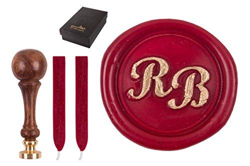 Siegel-Stempel d20mm mit Initialen, 2 Buchstaben Script MD, 2 Stangen Siegelwachs