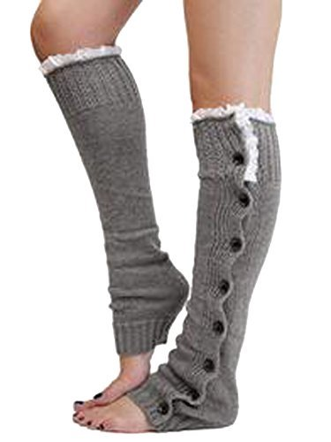 Frauen Knie Hoch Knit flach Button-Down Crochet Spitze Trim Beinlinge Stiefel (Stiefel Für Hohe Socken Knie)