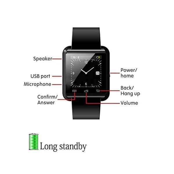 Letopro Smartwatch Bluetooth Reloj Inteligente Android iOS, Smart Watch Teléfono Inteligente De Pulsera con Pódometro/Contador de Calorias, Fitness Tracker para ios android phone(Negro) 3