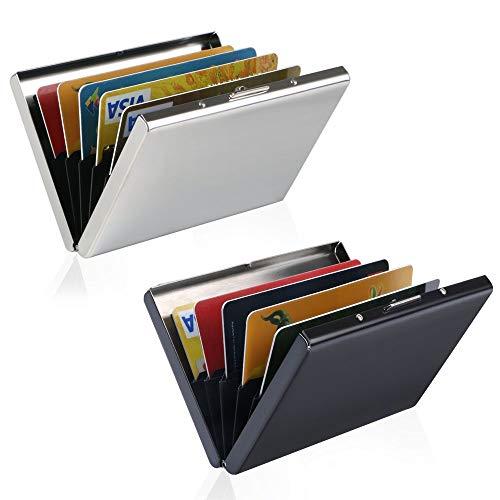 URAQT RFID Blocking Kreditkartenhülle Kreditkartenetui, URAQT Credit Card Holder Kreditkartenetui (Schwarz + Silber * 2pcs)