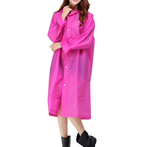 Zhhlinyuan Adult Outdoor Waterproof PVC Poncho Hooded Long Sleeve Raincoat Rose Red