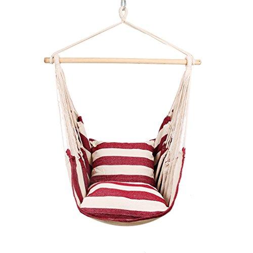 Holifine Aufhängung Hängesessel Hängestuhl mit Spreizstab, 2 Kissen, für balkon Garten outdoor und indoor, belastbar bis 120kg, XXL, RotWeiß gestreift