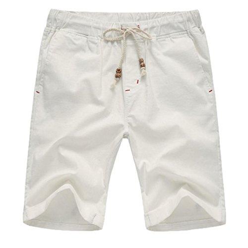 OSYARD Männer Sommer Leinen Solide Herren Chino Shorts,Strand Casual Elastische Taille Klassische Shorts, Kurze Hose mit Stretch-Anteil Regular Fit