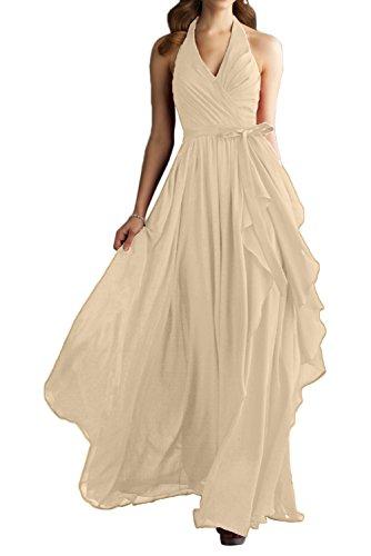 Gorgeous Bride Modern Neckholder Lang Empire Chiffon Abendkleider Festkleid Ballkleid Champagner
