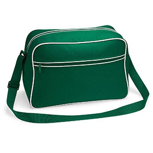 Bagbase - Borsa a tracolla rétro in 11 colori Verde (Bottle green / white)