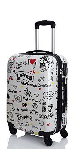 Trolley da Cabina 50 cm - Valigia Rigida 4 Ruote in ABS Policarbonato - Approvato per Voli Come Rayanair & Easyjet - Loves Happiness (Loves-G 50 cm)