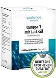 Sanhelios OMEGA 3 | Hochdosierte Omega-3-Fettsäuren | 1000mg Lachsöl, 180 mg EPA & 120 mg DHA je Kapsel | 90 Kapseln | 3 Monate | Nur natürliche Zutaten | Hergestellt & geprüft in Deutschland